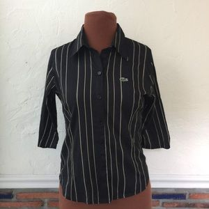 Lacoste black stripe stretch button down shirt